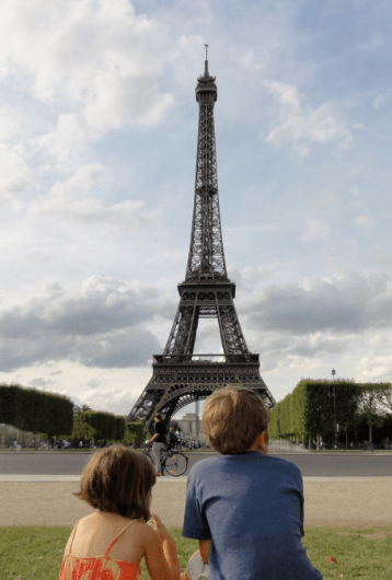 eiffel tower with toddlers and kids