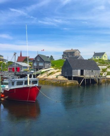 Peggy's Cove Nova Scotia with toddler
