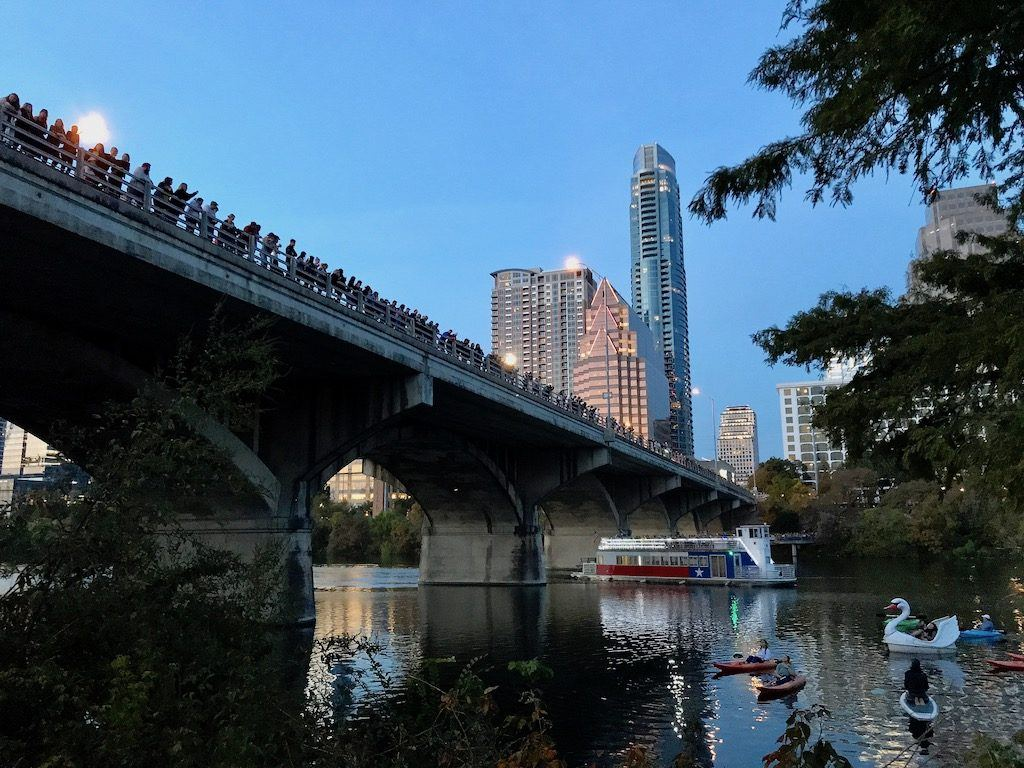 People Waiting on Congress Avenue Bridge for Bats